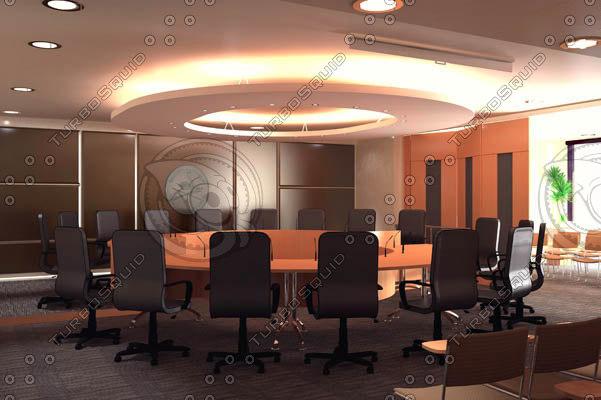 3d board room scene settings model