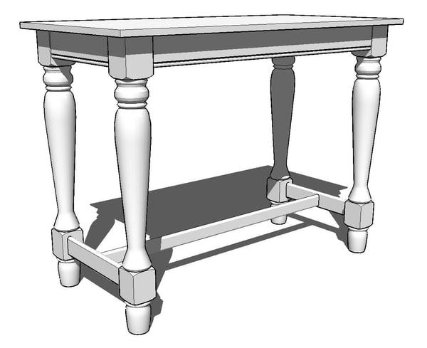 3d spindel leg table model