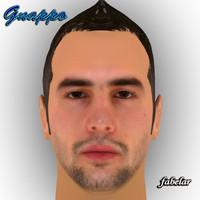 3d model of head hair alberto