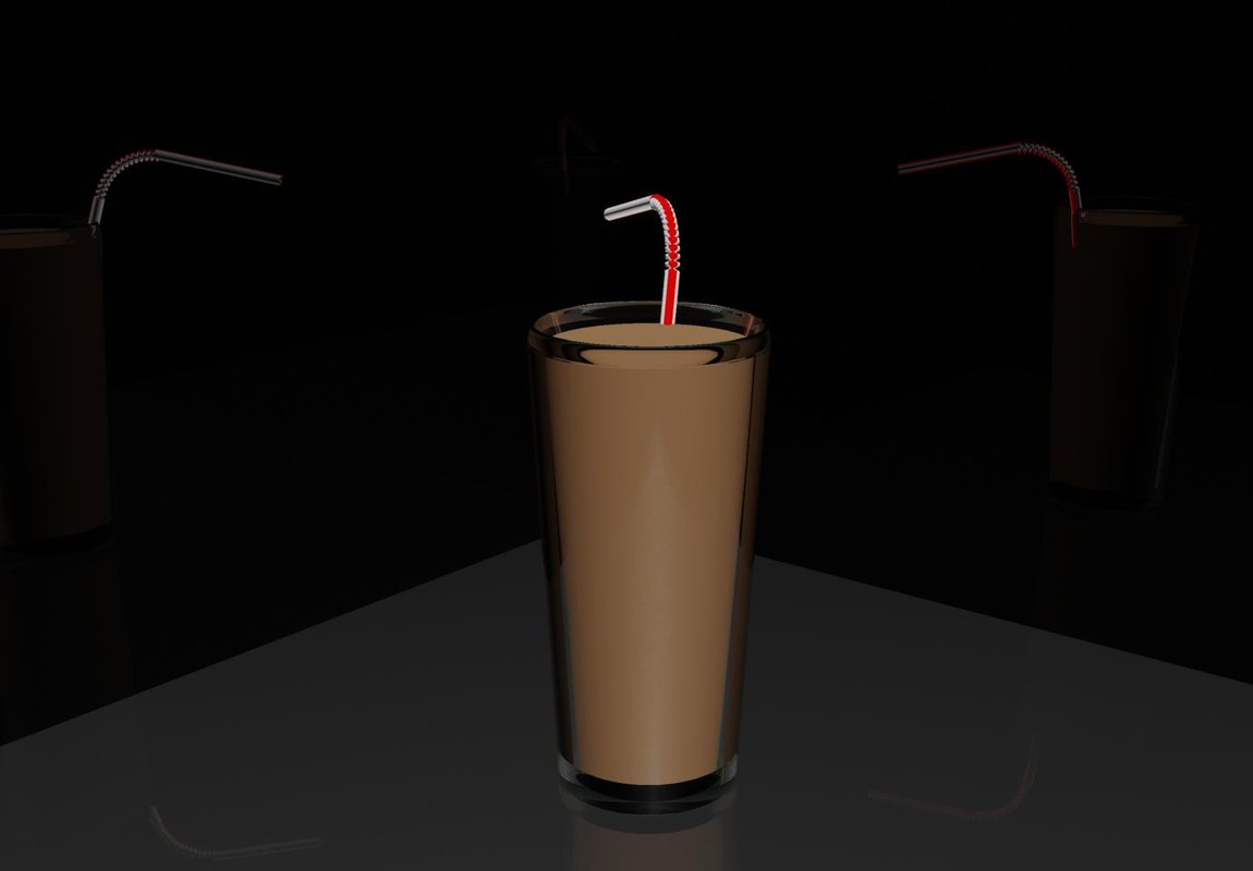 free bendy straw chocolate 3d model