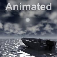 3D Animated Ocean Scene Night