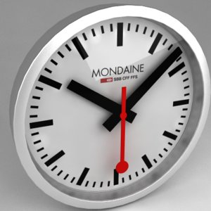 3d model mondaine railway clock swiss