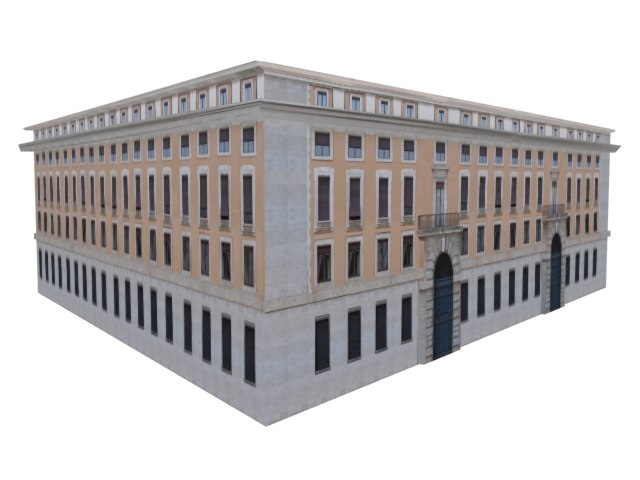 elegant european building structure 3d model