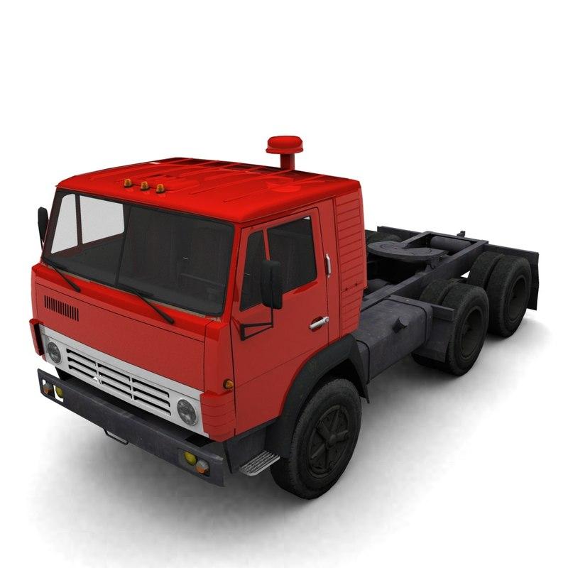 3d model low-poly kamaz truck