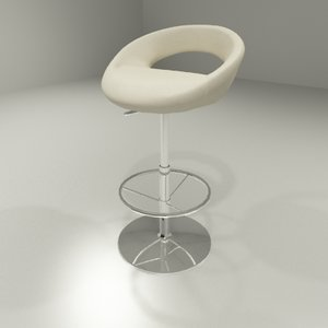 bluto bar stool leather chair 3d model