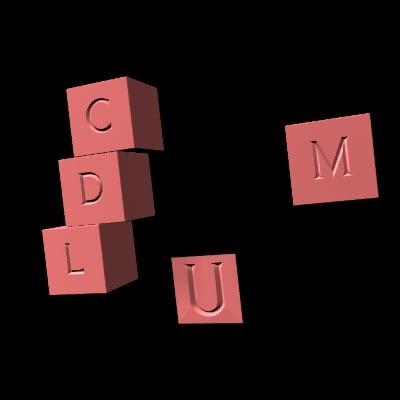 free 3ds model test u roman font
