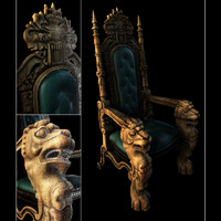 3d model wooden carved chair