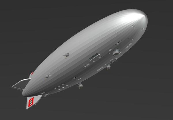 3d hindenburg airship solid