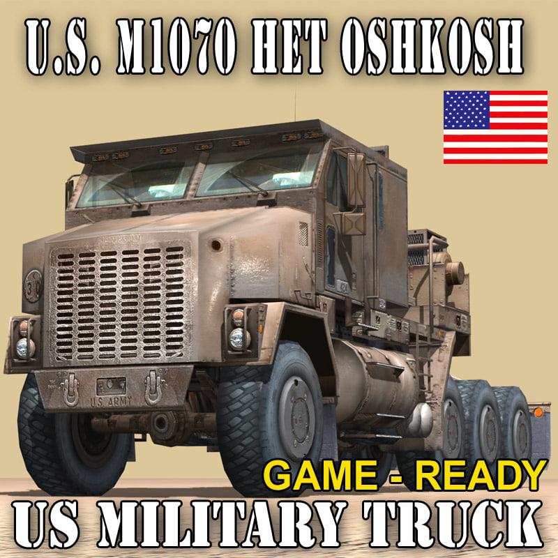 military truck oshkosh m1070 3d model