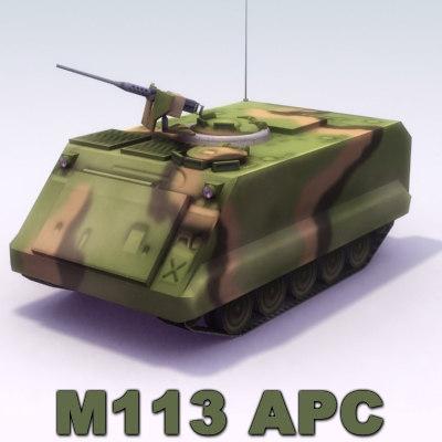 m113 apc machine gun 3d model