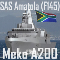 South African Navy SAS Amatola (F145) Frigate (MEKO A-200SAN class) (low polygon)