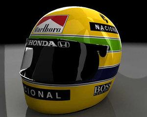 3d model ayrton senna helmet
