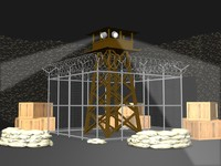 wwii prison stalag tower 3d model