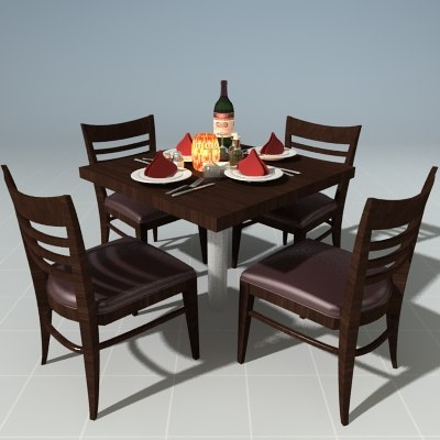 3d dinner table setting model