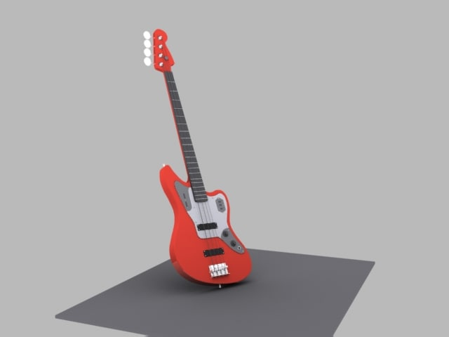 red bass guitar 3d 3ds
