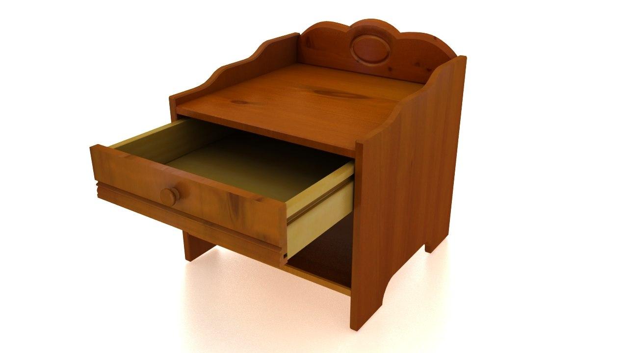 3d bedside table furniture model