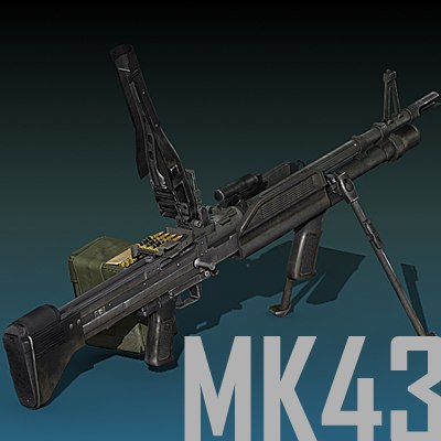 3d mk-43 mod 0 machine gun model