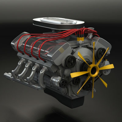 3d model engine v8 classic