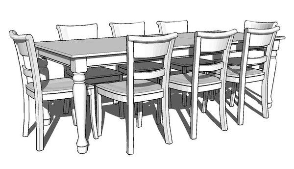 3d model of spindel leg dining room
