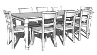 3d model of spindel leg dining room