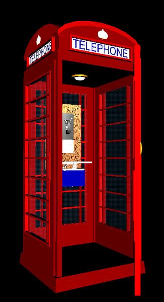 3d english phone booth door model