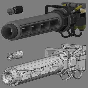 3d model gun railgun