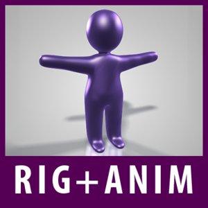 3d rigged plastic figure