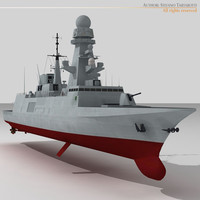 fremm multipurpose frigate 3d model