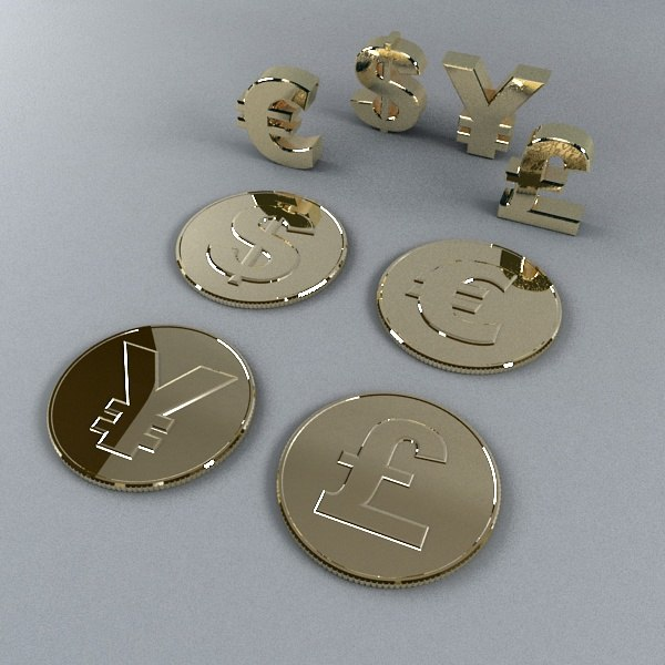 3d money sign coins