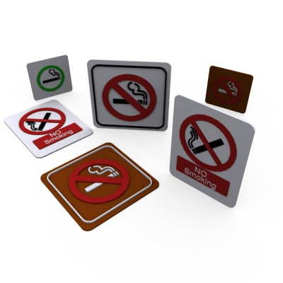 3d model of smoking sign