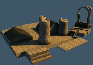 3d broken temple model