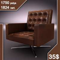 3d model old leather armchair