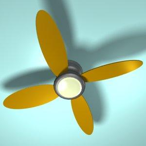 3d brushed metal ceiling fan model