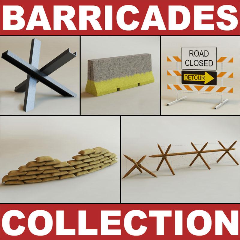 barricades modelled polygonal 3d max