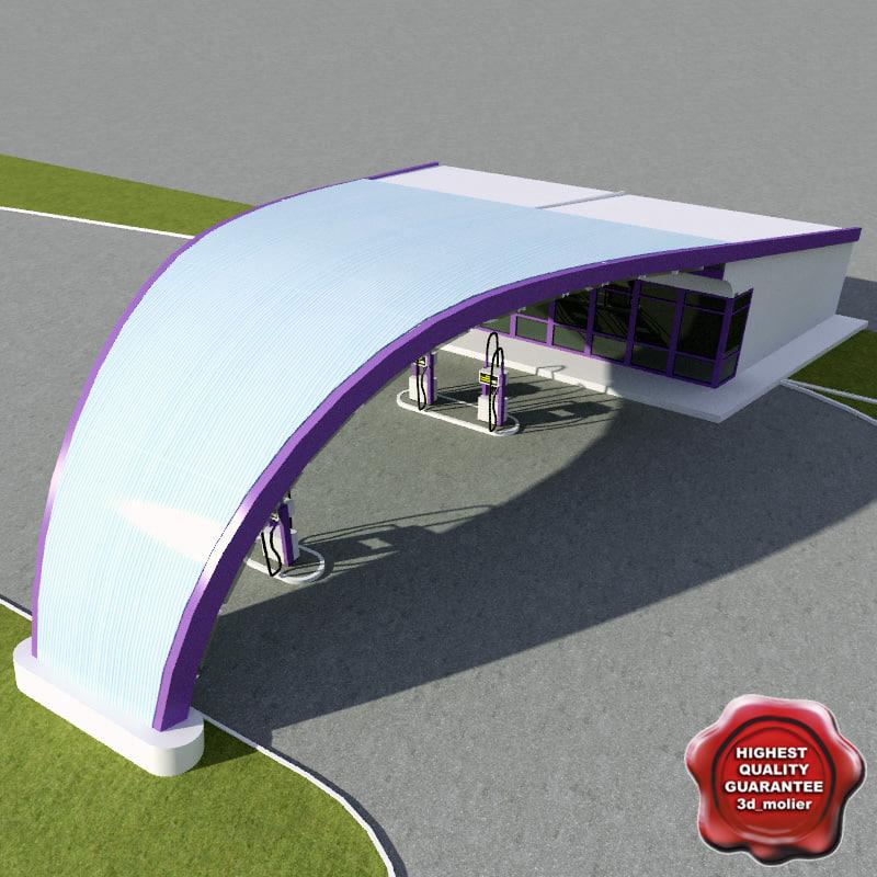 3d gas station v15 model