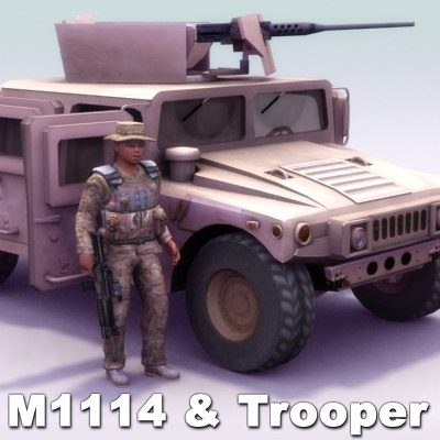 m1114 hmmwv female 3d model