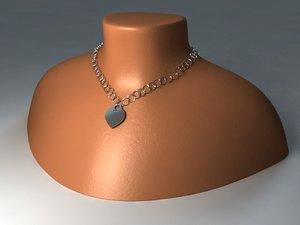 3d model tiffany necklace neck mount