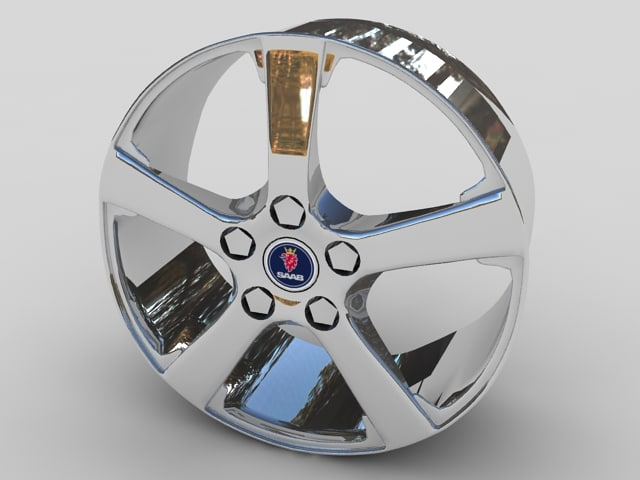saab alloy car wheel 3d model