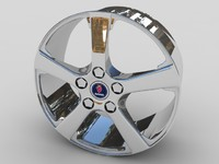 saab alloy car wheel 3d model
