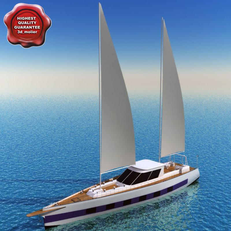 3d model sailing yacht ricochet 2760