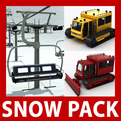 snow pack: chair lift 3d 3ds