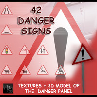 danger signs 42 3d model