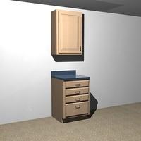 kitchen cabinets - drawer 3d x