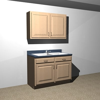 Acad Wood Cabinet Sink Base 48 Wall 4830 Dxf