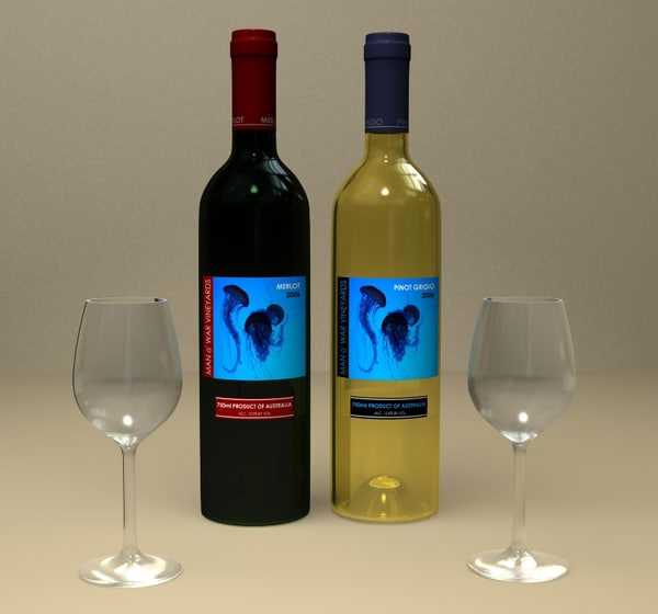 lwo red white wine bottles