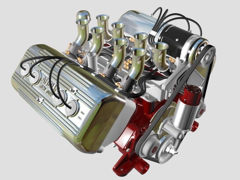 3d ardun flathead v8 engine model