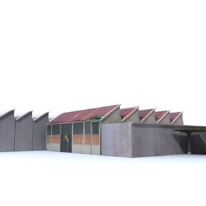 3d industrial sheds model