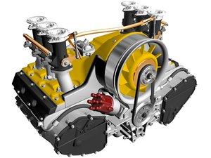 3d air-cooled flat-six engine