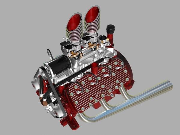 3d custom early flathead v8 engine
