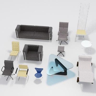 famous furniture design. Low Poly Famous Furniture Designs.MAX Design